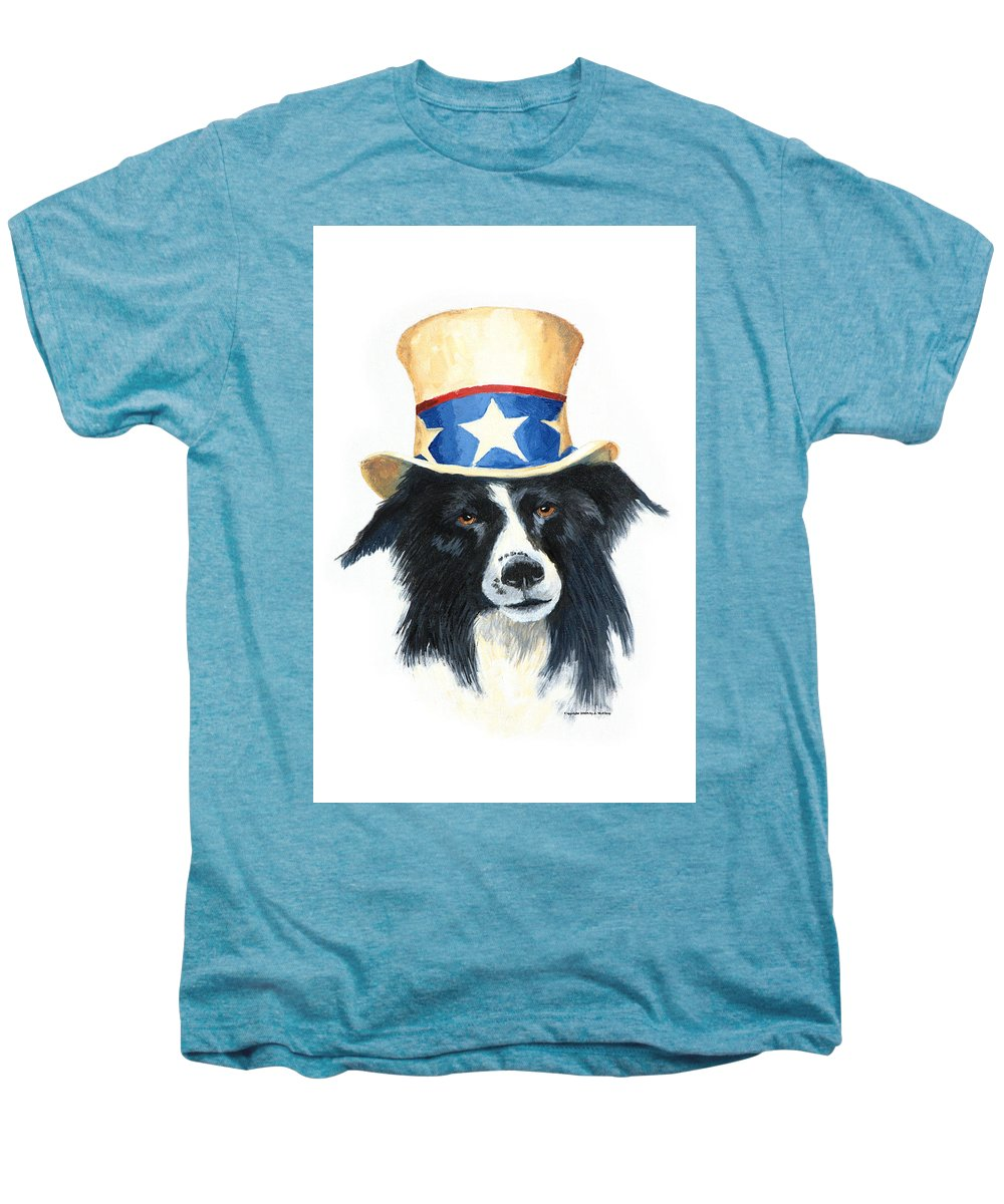 Dog Men's Premium T-Shirt featuring the painting In Dog We Trust by Jerry McElroy