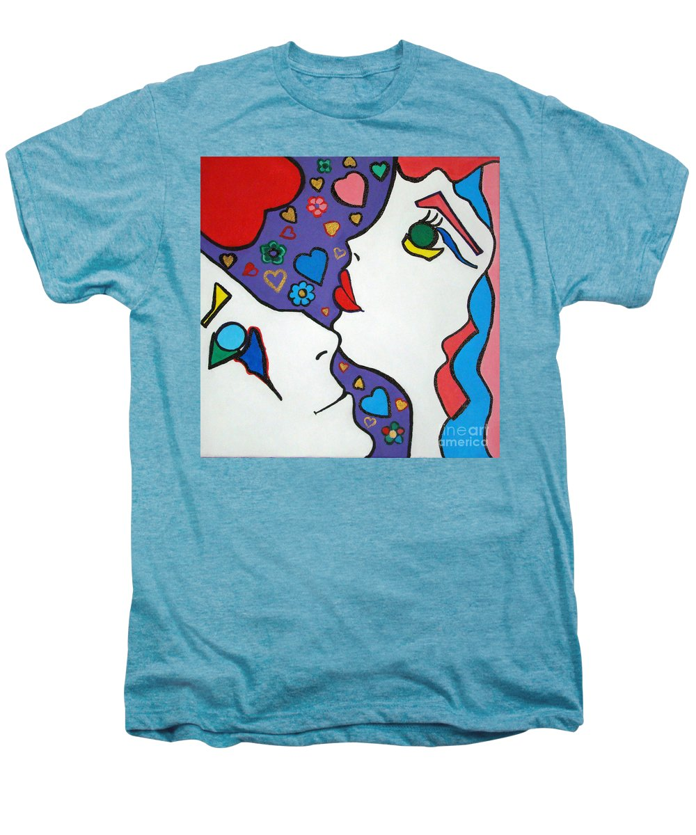 Pop-art Men's Premium T-Shirt featuring the painting In Love by Silvana Abel