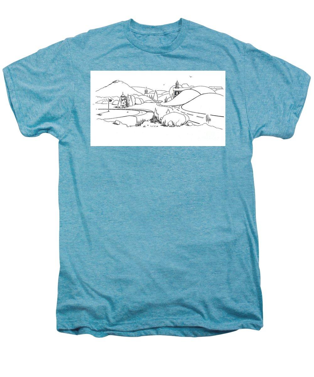 In The Land Of Brigadoon Men's Premium T-Shirt featuring the drawing In The Land Of Brigadoon by Kip DeVore