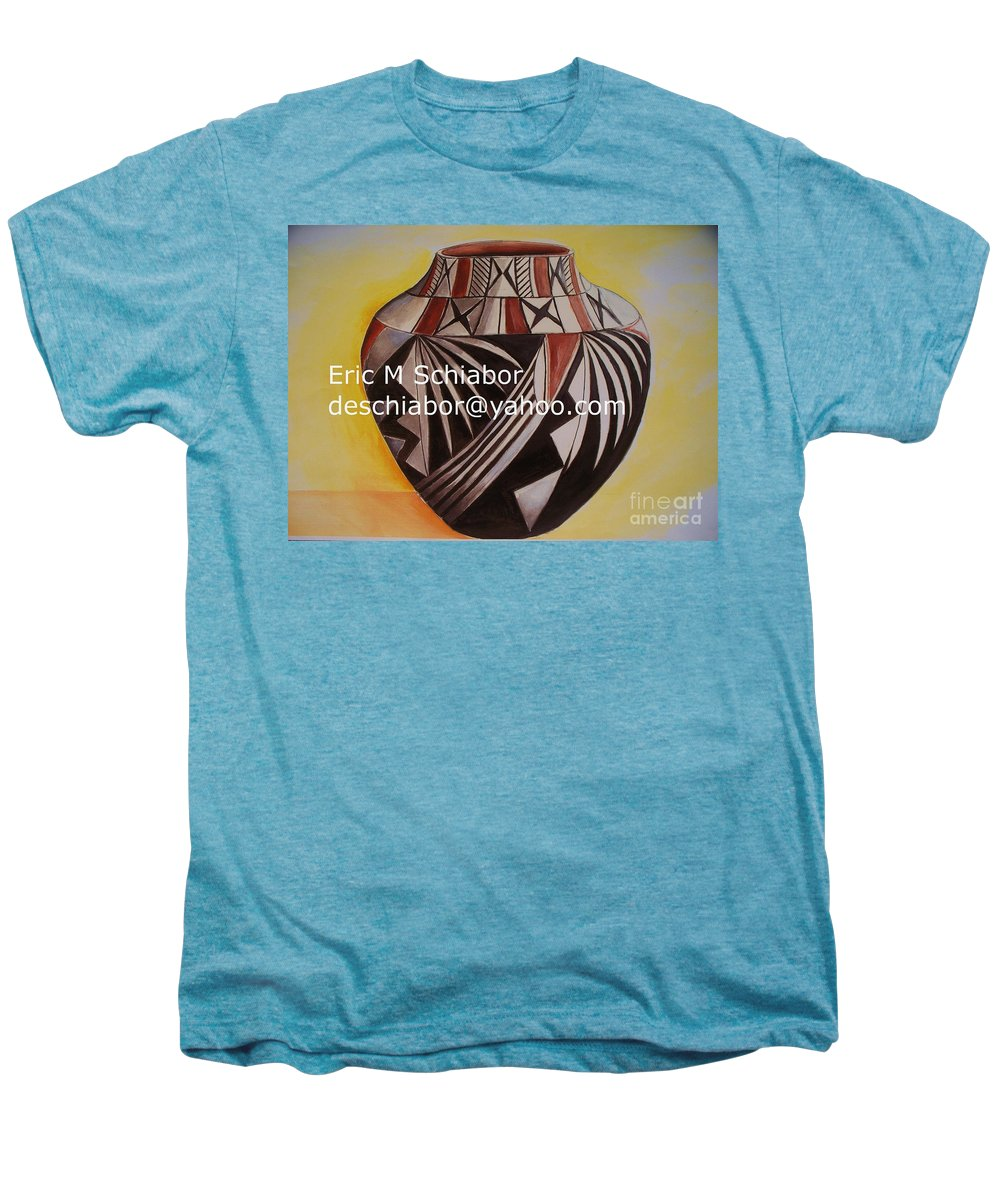 Indian Men's Premium T-Shirt featuring the painting Indian Pottery by Eric Schiabor