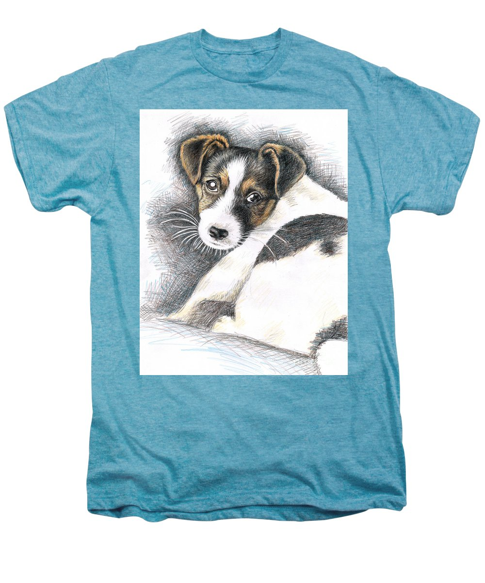 Dog Men's Premium T-Shirt featuring the drawing Jack Russell Puppy by Nicole Zeug