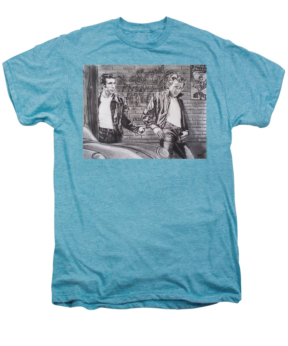 Americana Men's Premium T-Shirt featuring the drawing James Dean Meets The Fonz by Sean Connolly