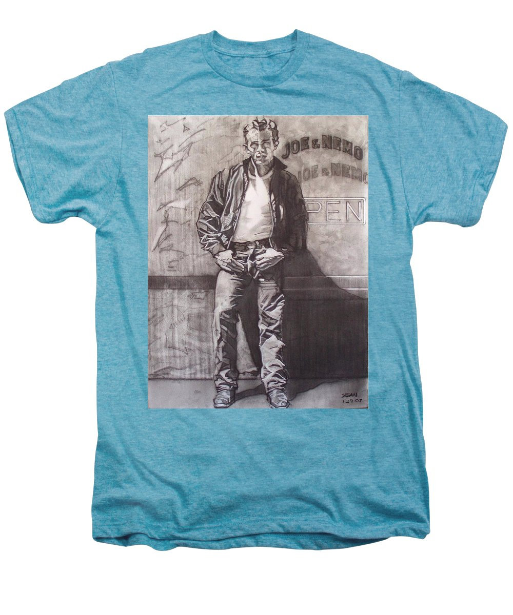 Charcoal; Icon;americana;cool;window;sidewalk;street;rock And Roll;jeans;t-shirt;diner;movie Star Men's Premium T-Shirt featuring the drawing James Dean by Sean Connolly
