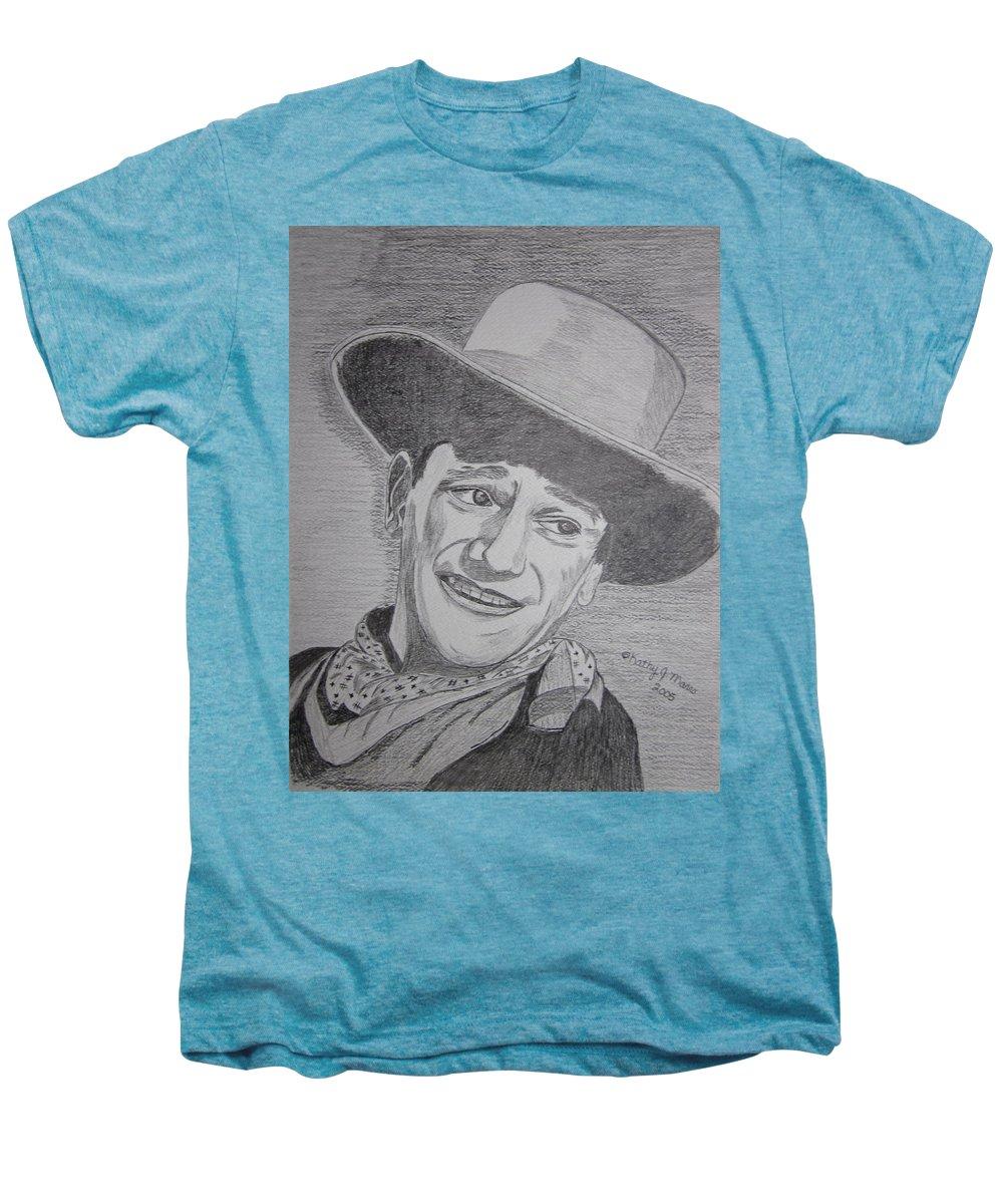 John Wayne Men's Premium T-Shirt featuring the painting John Wayne by Kathy Marrs Chandler