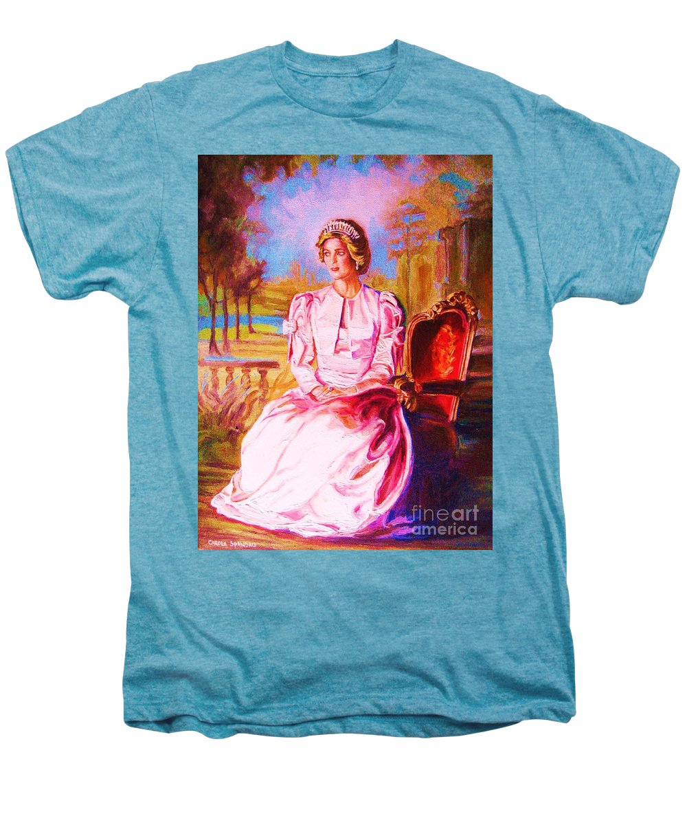 Princess Diana Men's Premium T-Shirt featuring the painting Lady Diana Our Princess by Carole Spandau