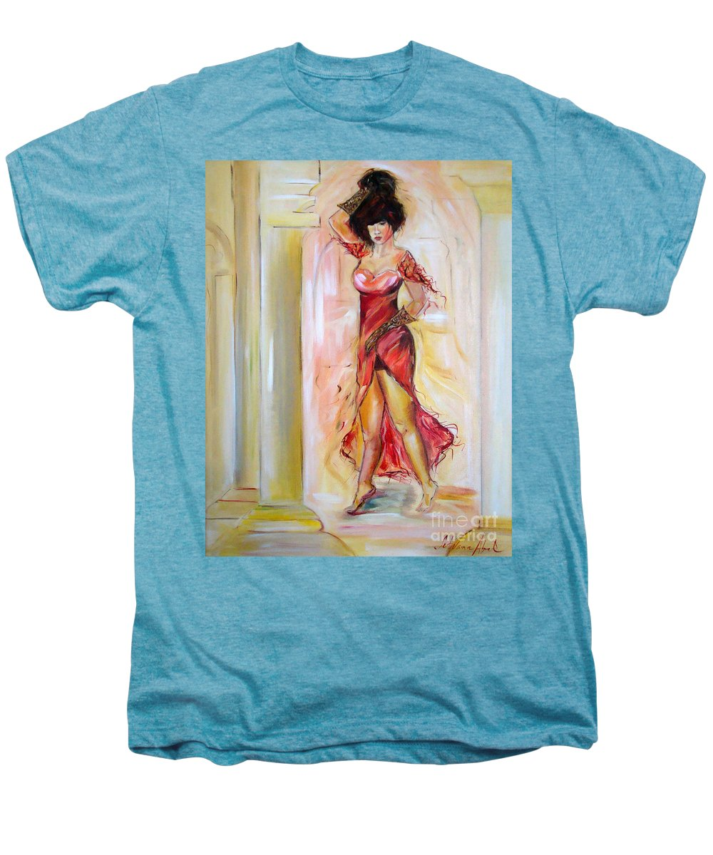 Contemporary Art Men's Premium T-Shirt featuring the painting Lady In Red by Silvana Abel
