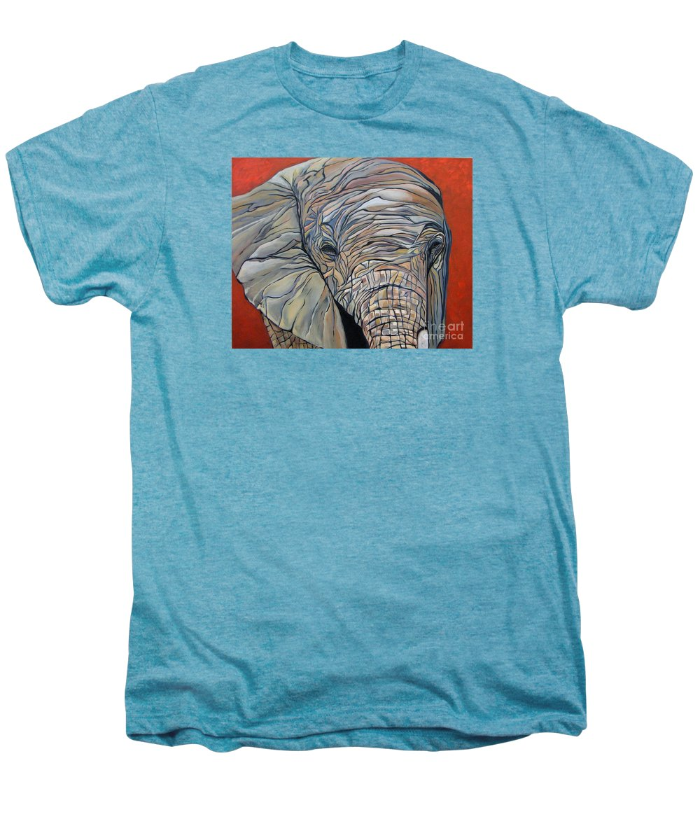 Elephant Men's Premium T-Shirt featuring the painting Lazy Boy by Aimee Vance