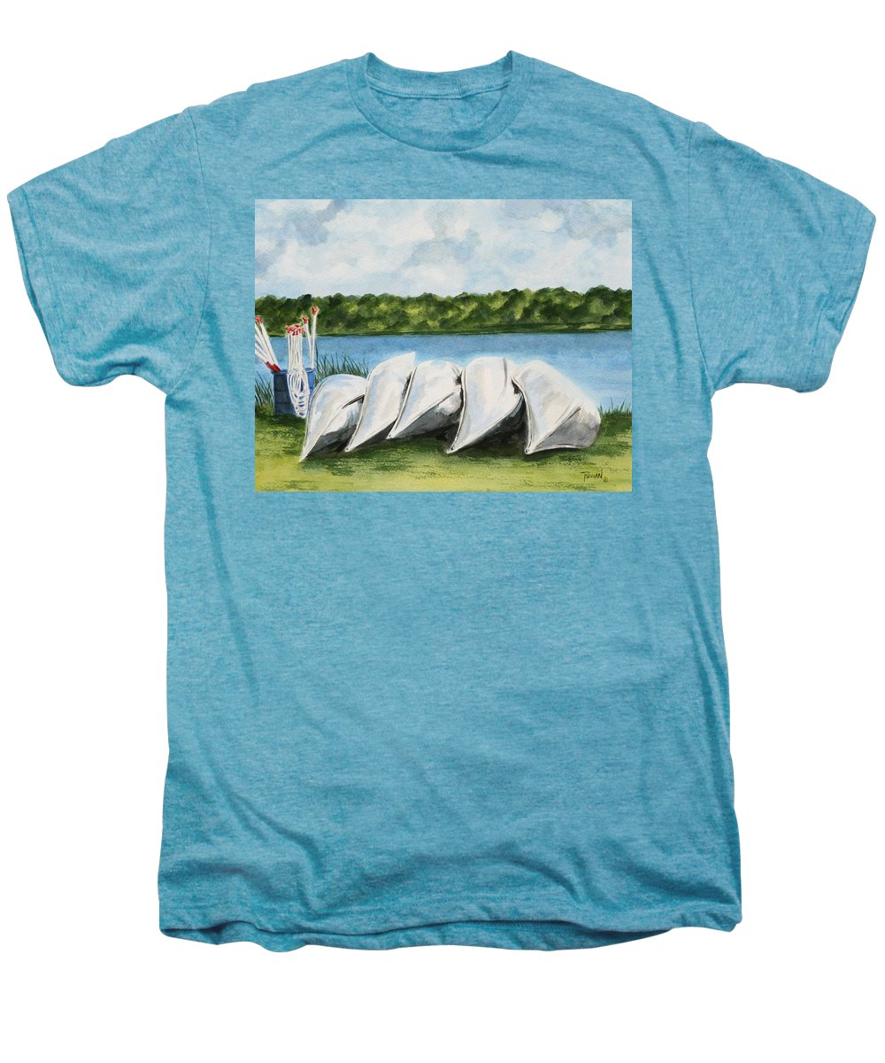 Canoes Men's Premium T-Shirt featuring the painting Lazy River by Regan J Smith