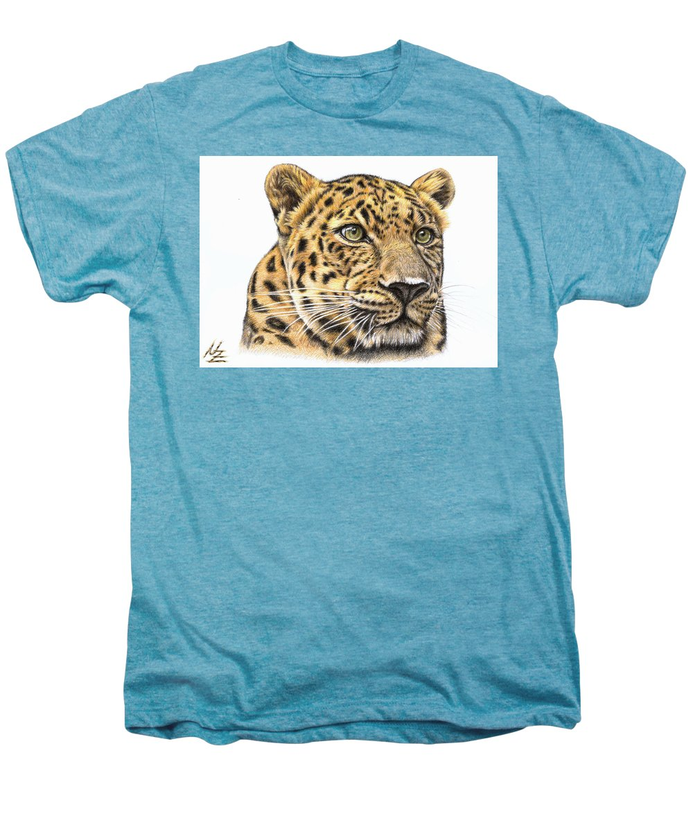 Leopard Men's Premium T-Shirt featuring the drawing Leopard by Nicole Zeug