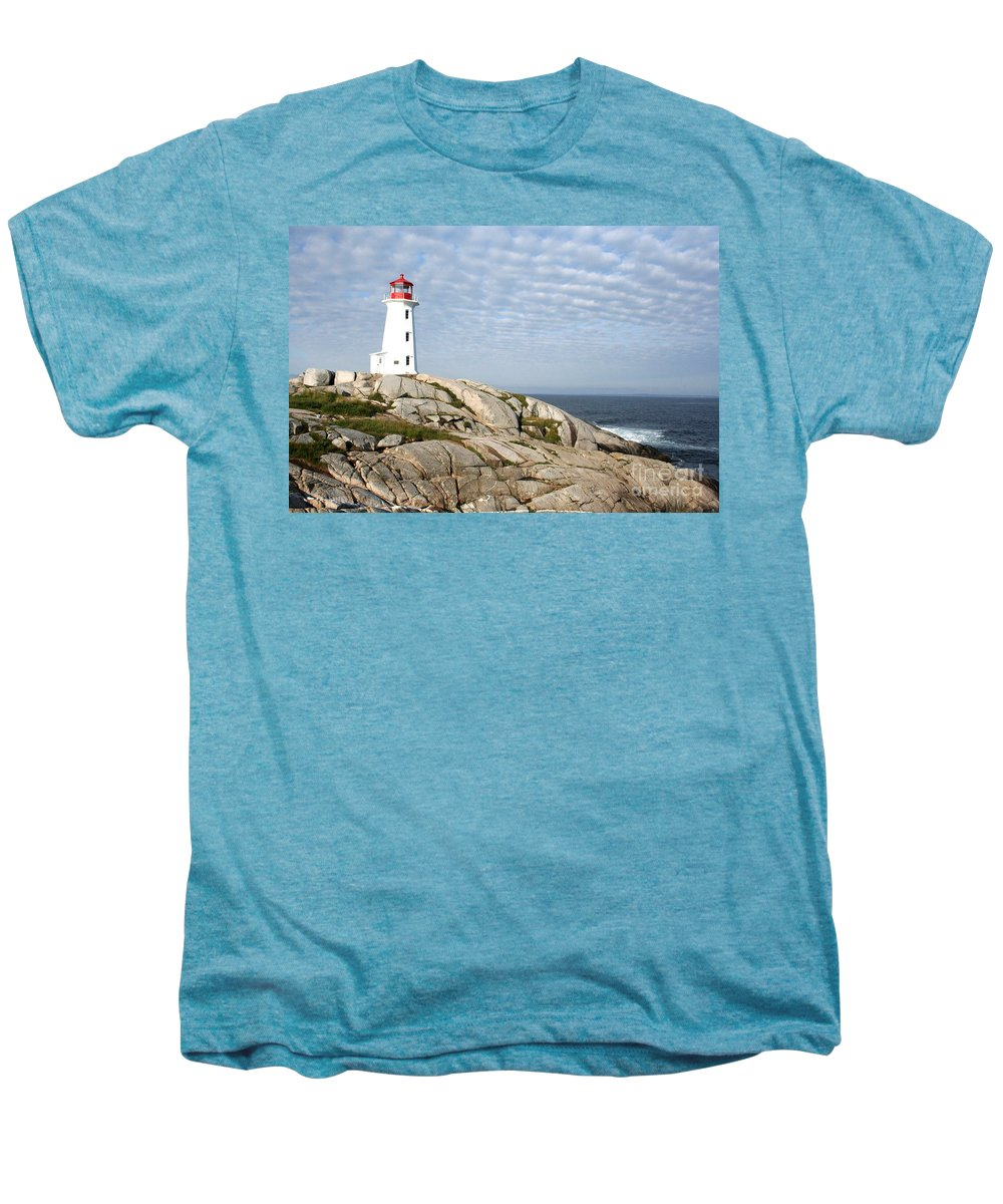 Lighthouse Men's Premium T-Shirt featuring the photograph Lighthouse At Peggys Point Nova Scotia by Thomas Marchessault