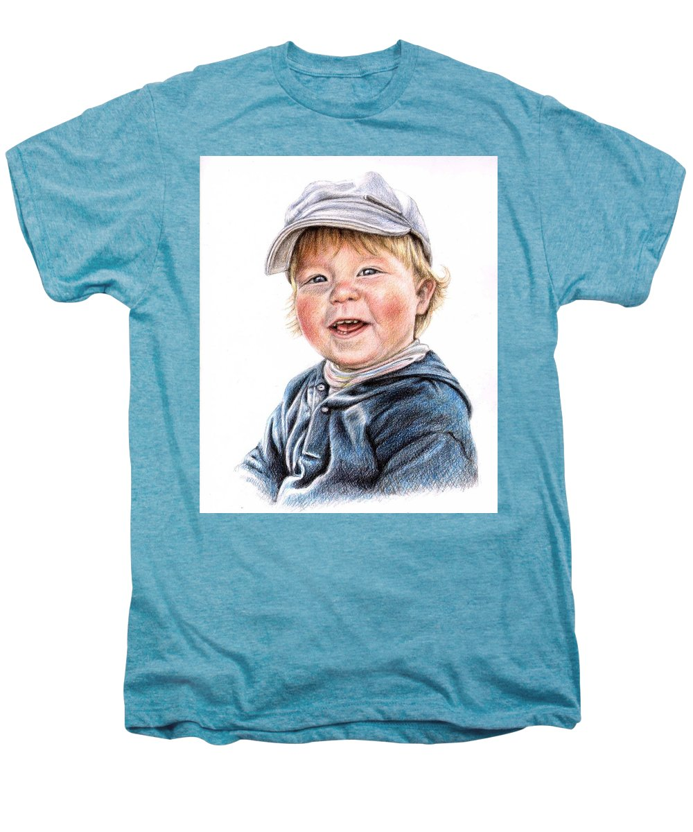 Boy Men's Premium T-Shirt featuring the drawing Little Boy by Nicole Zeug
