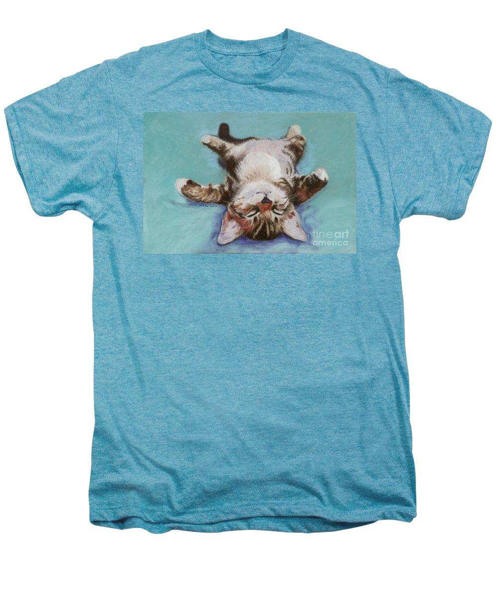 Cat Painting Men's Premium T-Shirt featuring the pastel Little Napper by Pat Saunders-White