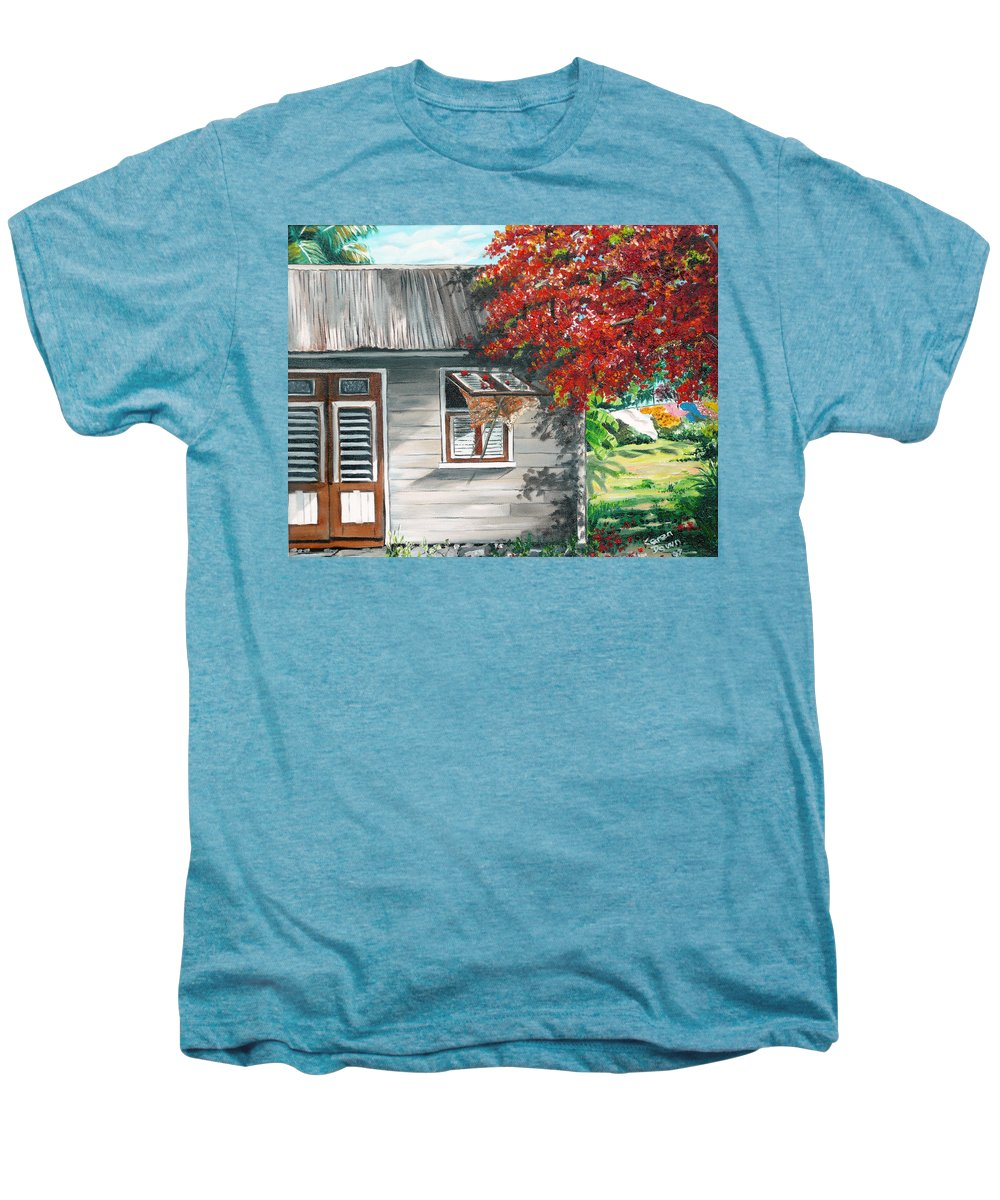 Caribbean Painting Typical Country House In The Caribbean Or West Indian Islands With Flamboyant Tree Tropical Painting Men's Premium T-Shirt featuring the painting Little West Indian House 1 by Karin Dawn Kelshall- Best