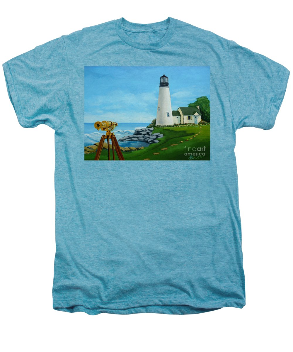 Lighthouse Men's Premium T-Shirt featuring the painting Looking Out To Sea by Anthony Dunphy
