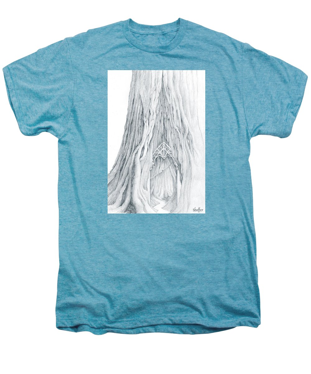 Lothlorien Men's Premium T-Shirt featuring the drawing Lothlorien Mallorn Tree by Curtiss Shaffer