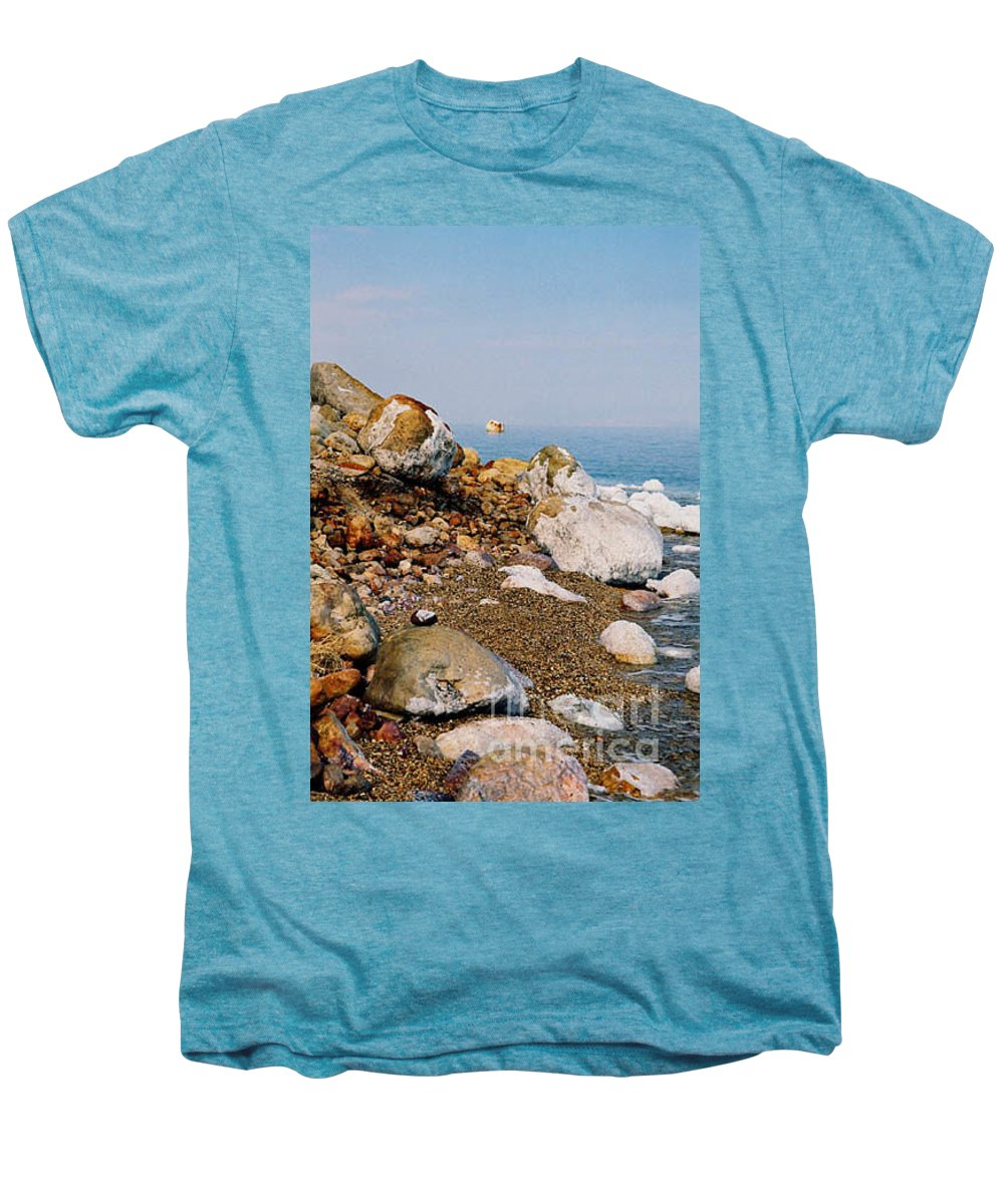 Dead Sea Men's Premium T-Shirt featuring the photograph Lot's Wife by Kathy McClure