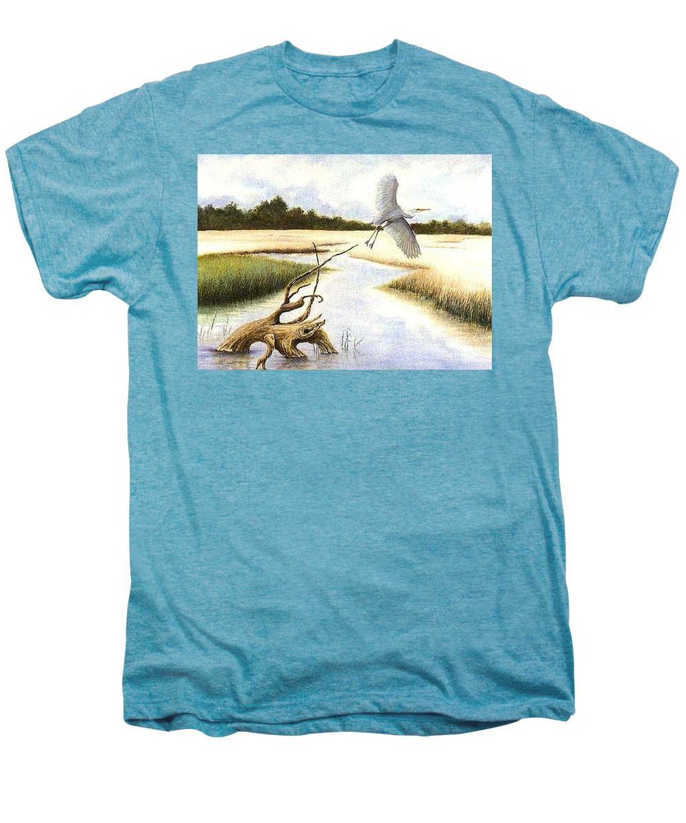 Egret Men's Premium T-Shirt featuring the painting Low Country Marsh by Ben Kiger