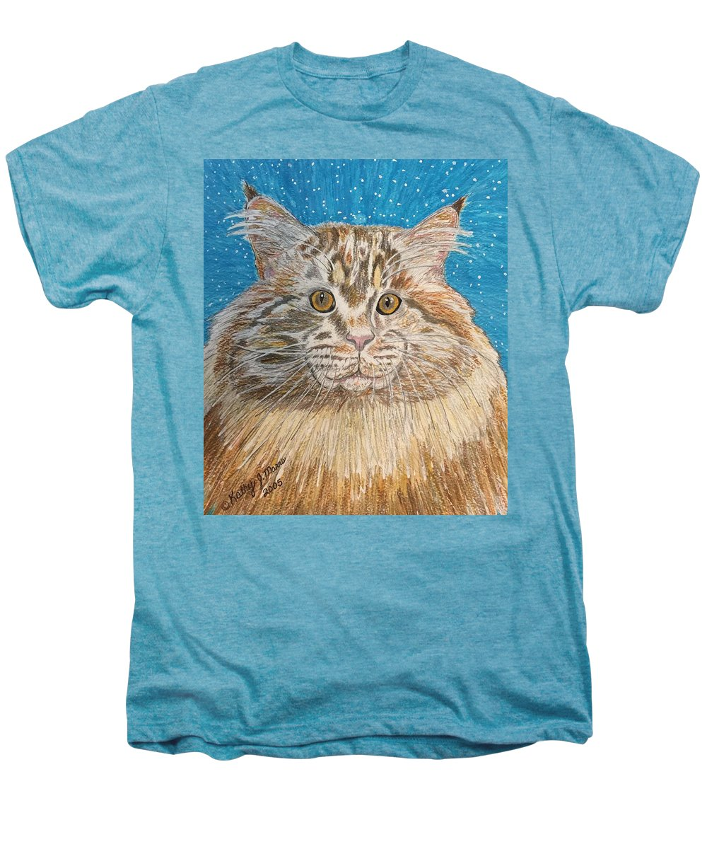 Maine Men's Premium T-Shirt featuring the painting Maine Coon Cat by Kathy Marrs Chandler