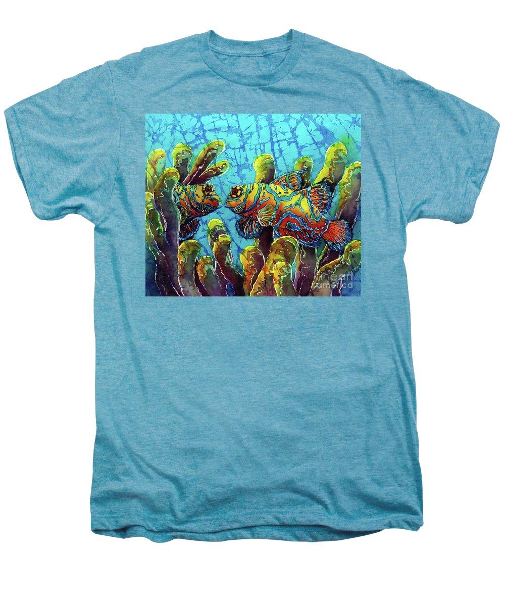 Mandarinfish Men's Premium T-Shirt featuring the painting Mandarinfish by Sue Duda