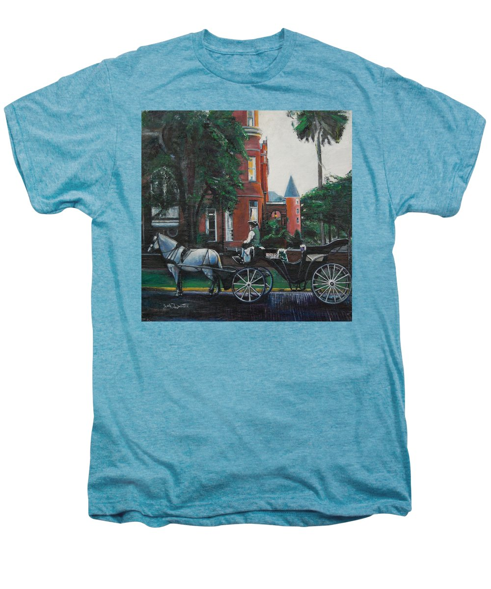 Men's Premium T-Shirt featuring the painting Mansion On Forsythe Savannah Georgia by Jude Darrien