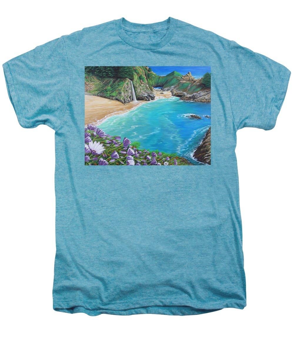 Beach Men's Premium T-Shirt featuring the painting Mcway Falls by Jane Girardot