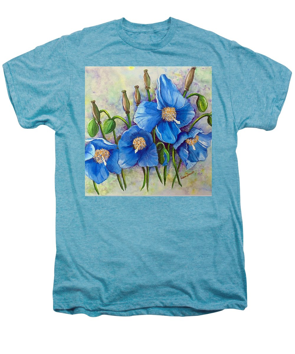 Blue Hymalayan Poppy Men's Premium T-Shirt featuring the painting Meconopsis  Himalayan Blue Poppy by Karin Dawn Kelshall- Best