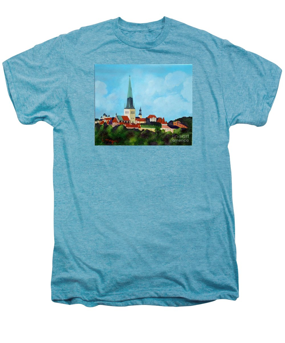 Tallinn Men's Premium T-Shirt featuring the painting Medieval Tallinn by Laurie Morgan
