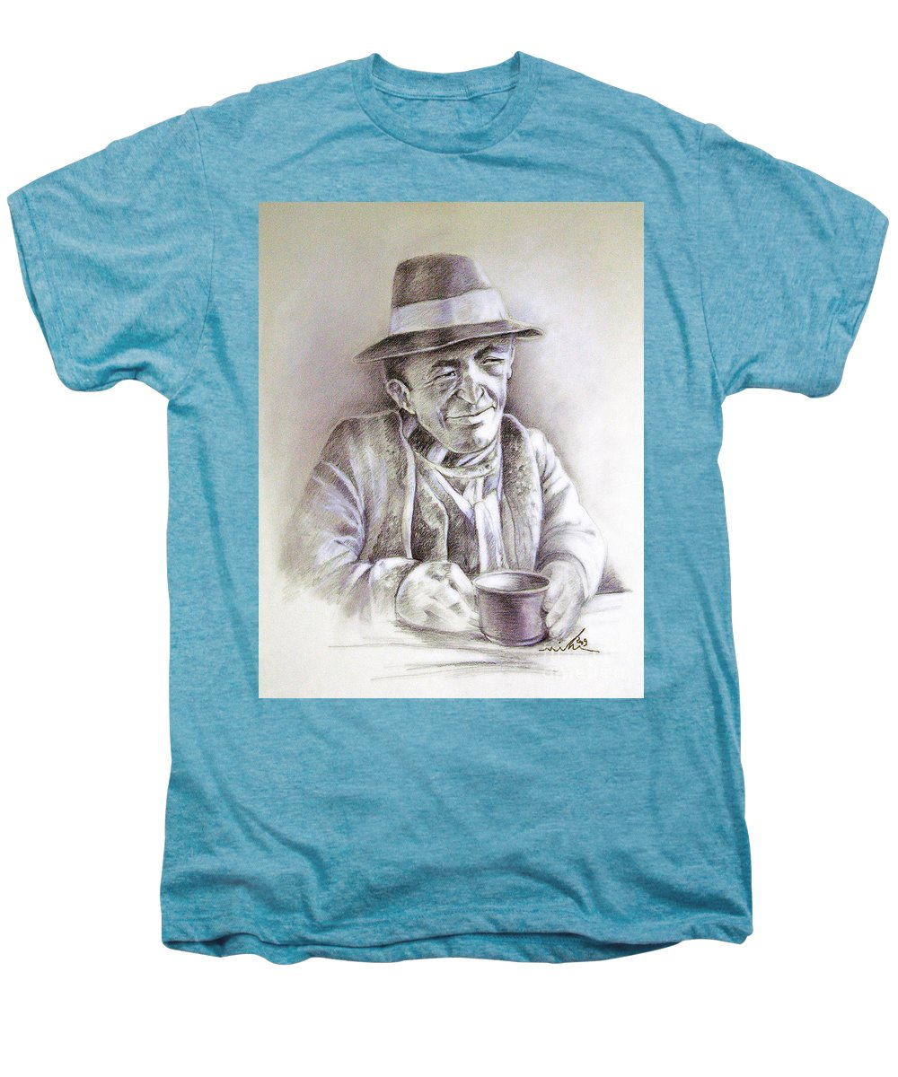 Portrait Michael Anderson Men's Premium T-Shirt featuring the painting Michael J Anderson by Miki De Goodaboom