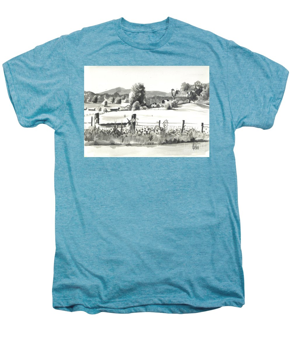 Midsummer View Out Route Jj  No I101 Men's Premium T-Shirt featuring the painting Midsummer View Out Route Jj  No I101 by Kip DeVore