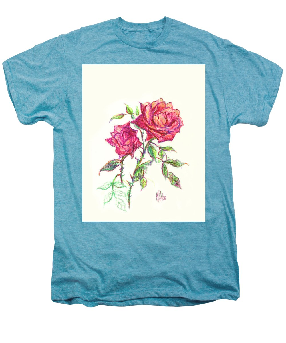 Nature Men's Premium T-Shirt featuring the painting Minature Red Rose by Kip DeVore