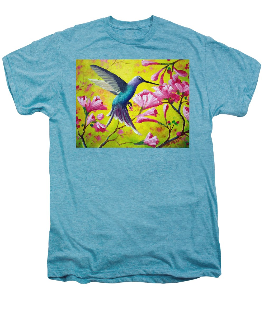 Hummingbird Men's Premium T-Shirt featuring the painting Morning Sweets by David G Paul