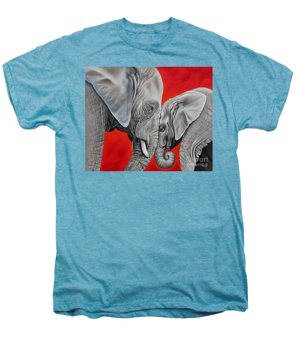 Elephant Men's Premium T-Shirt featuring the painting Mothers Love by Ilse Kleyn