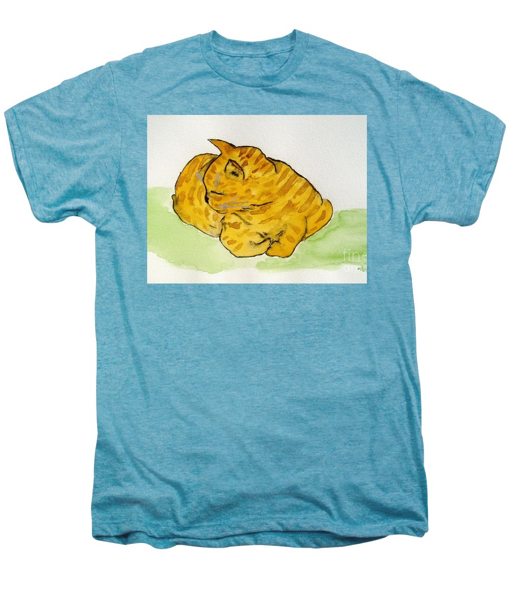 Cat Painting Men's Premium T-Shirt featuring the painting Mr. Yellow by Reina Resto