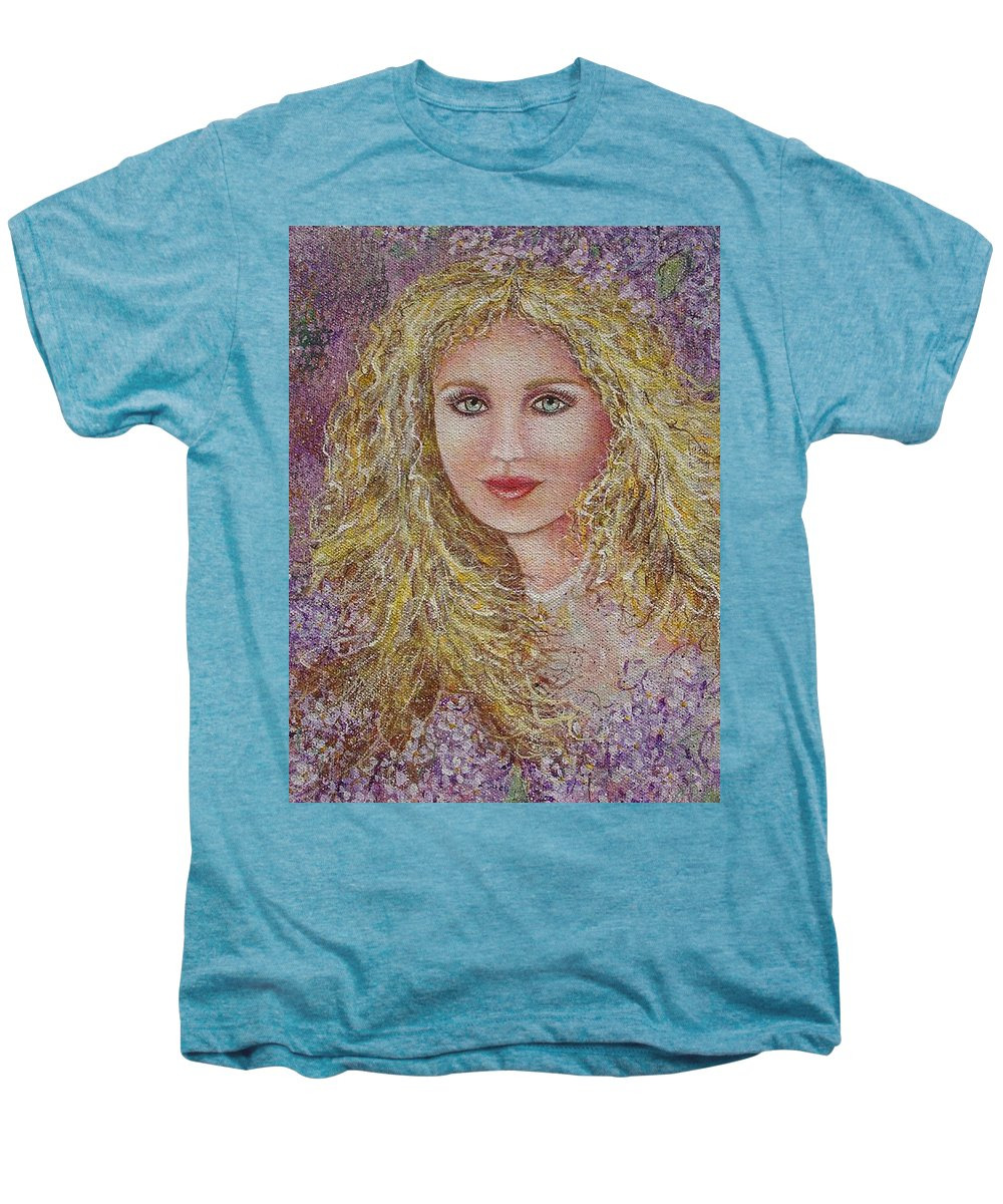 Portrait Men's Premium T-Shirt featuring the painting Natalie In Lilacs by Natalie Holland