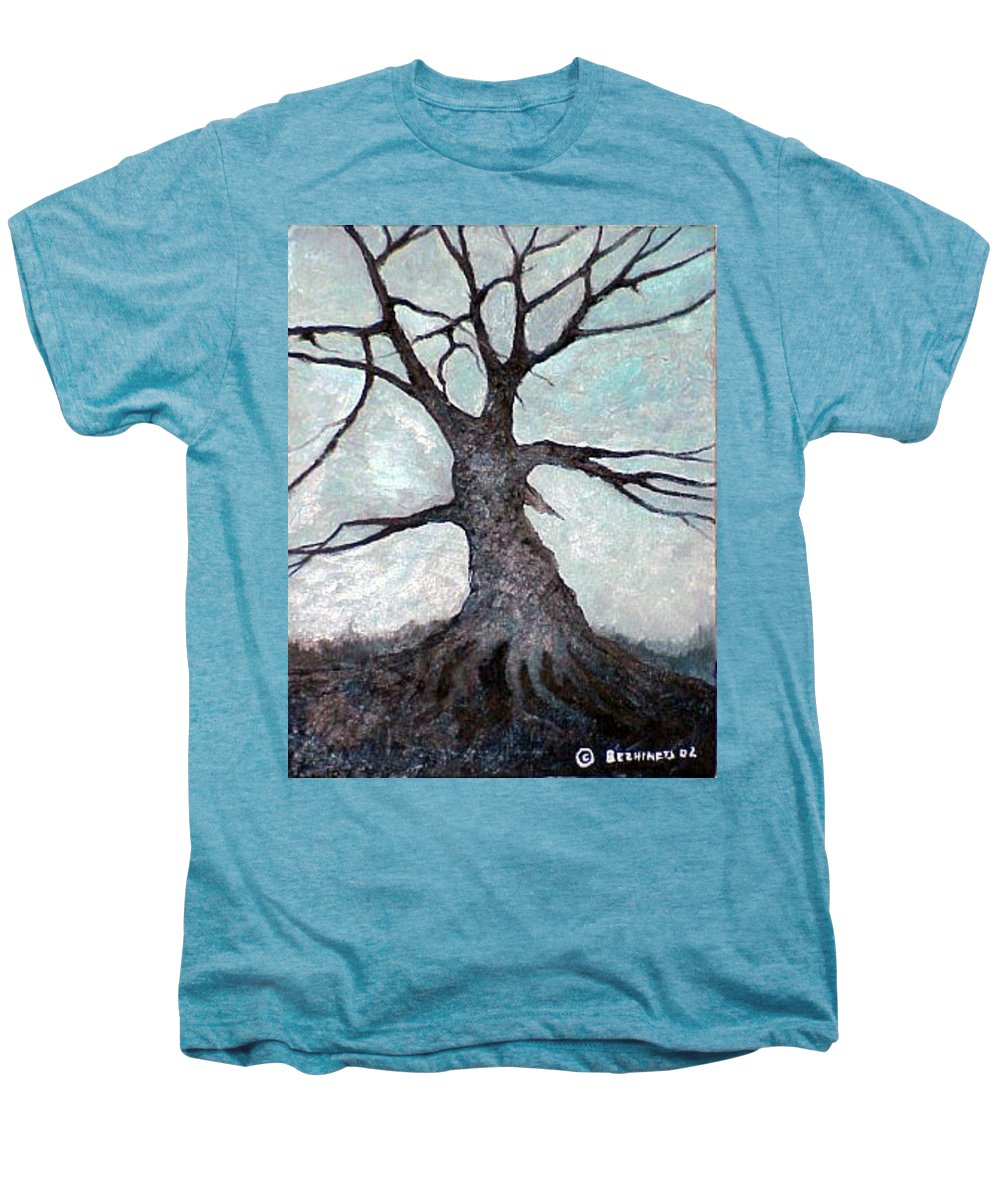 Landscape Men's Premium T-Shirt featuring the painting Old Tree by Sergey Bezhinets