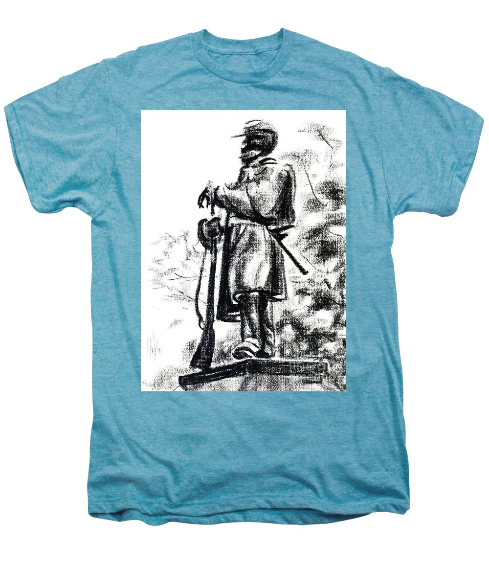 On Duty In Brigadoon No Ch101 Men's Premium T-Shirt featuring the drawing On Duty In Brigadoon No Ch101 by Kip DeVore