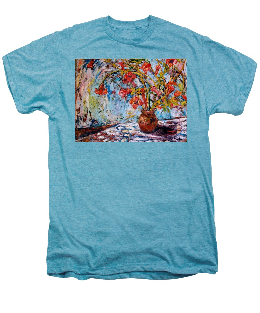 Trumpet Flowers Men's Premium T-Shirt featuring the painting Orange Trumpet Flowers by Kendall Kessler