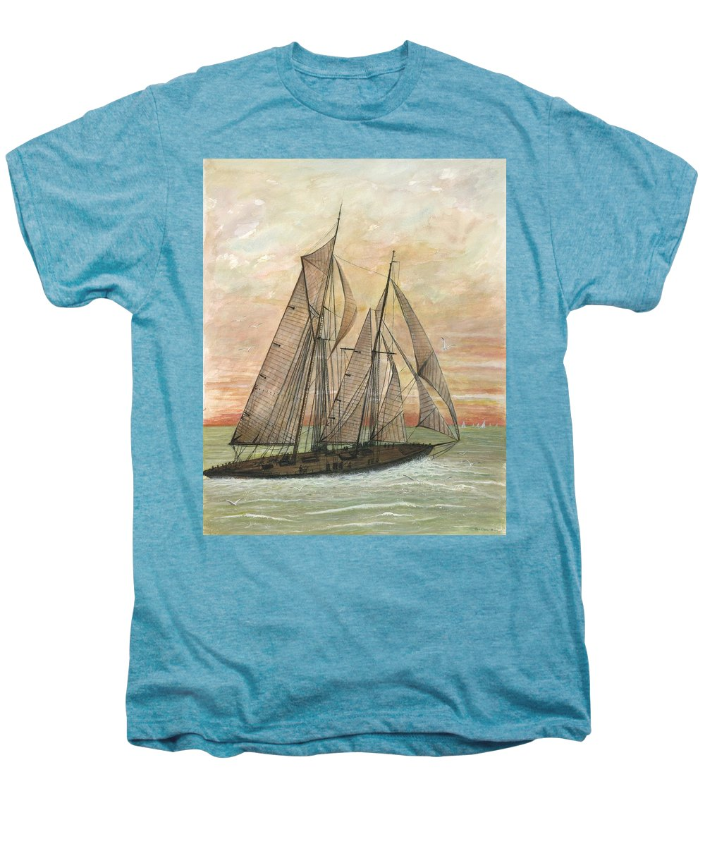 Sailboat; Ocean; Sunset Men's Premium T-Shirt featuring the painting Out To Sea by Ben Kiger