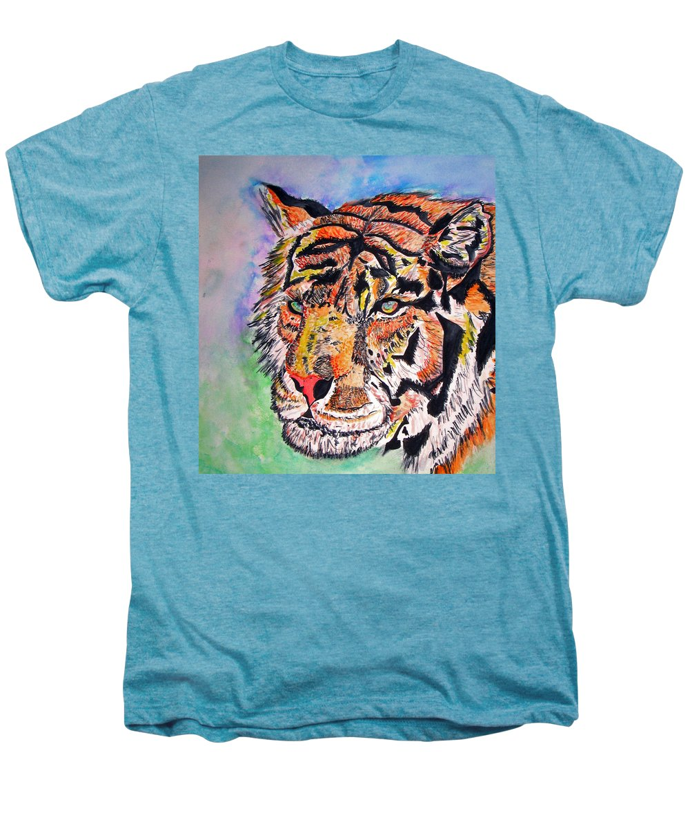 Abstract Men's Premium T-Shirt featuring the painting Paradise Dream by Crystal Hubbard