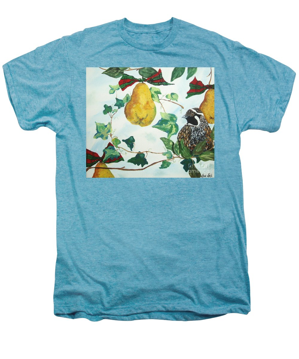 Tree Men's Premium T-Shirt featuring the painting Partridge And Pears by Reina Resto