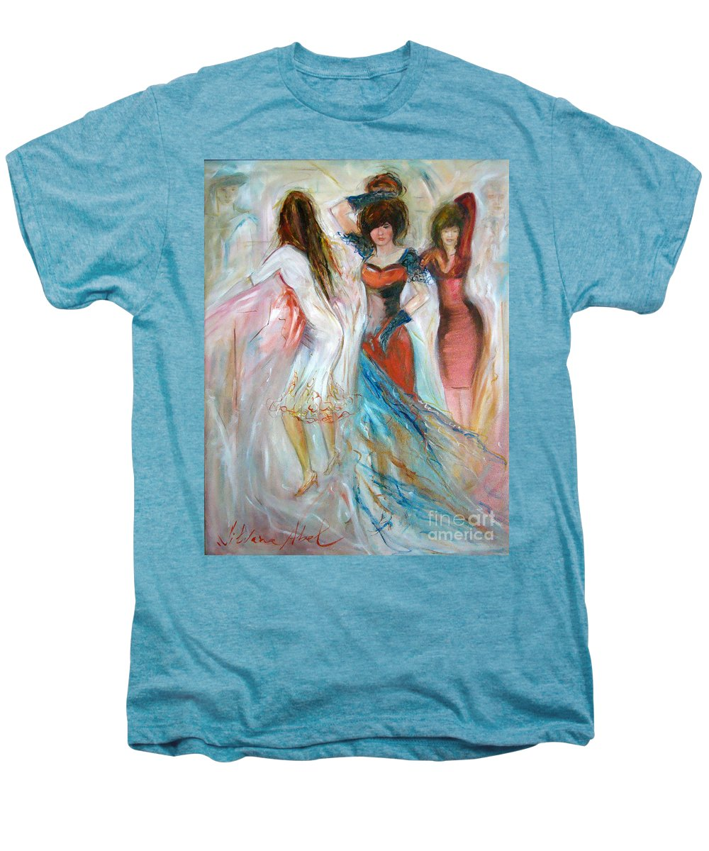 Contemporary Art Men's Premium T-Shirt featuring the painting Party Time by Silvana Abel