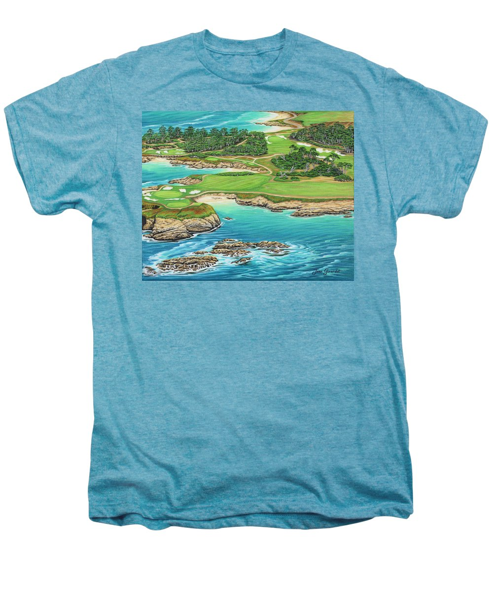 Ocean Men's Premium T-Shirt featuring the painting Pebble Beach 15th Hole-south by Jane Girardot