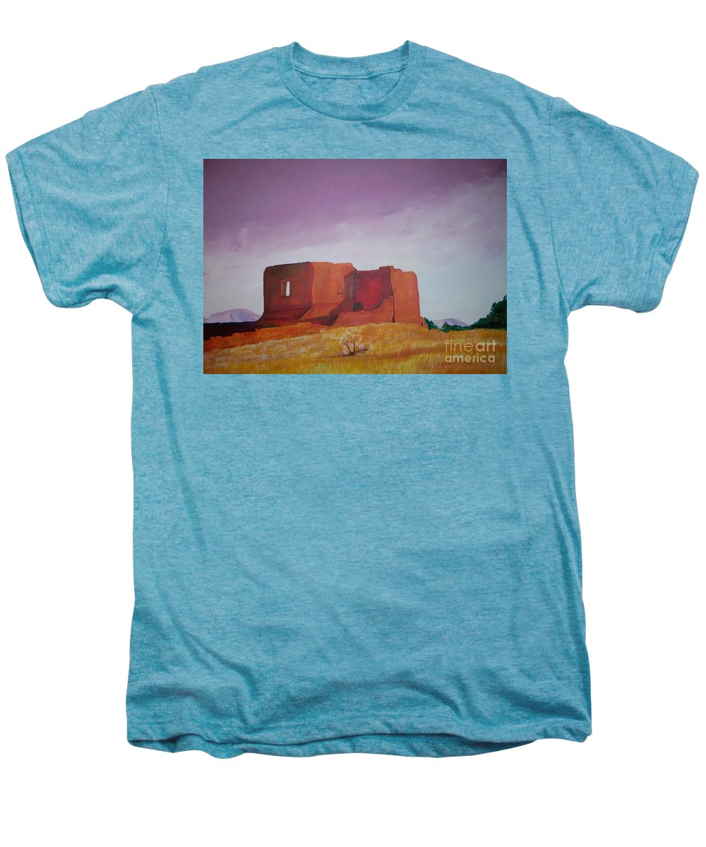 Western Men's Premium T-Shirt featuring the painting Pecos Mission Landscape by Eric Schiabor