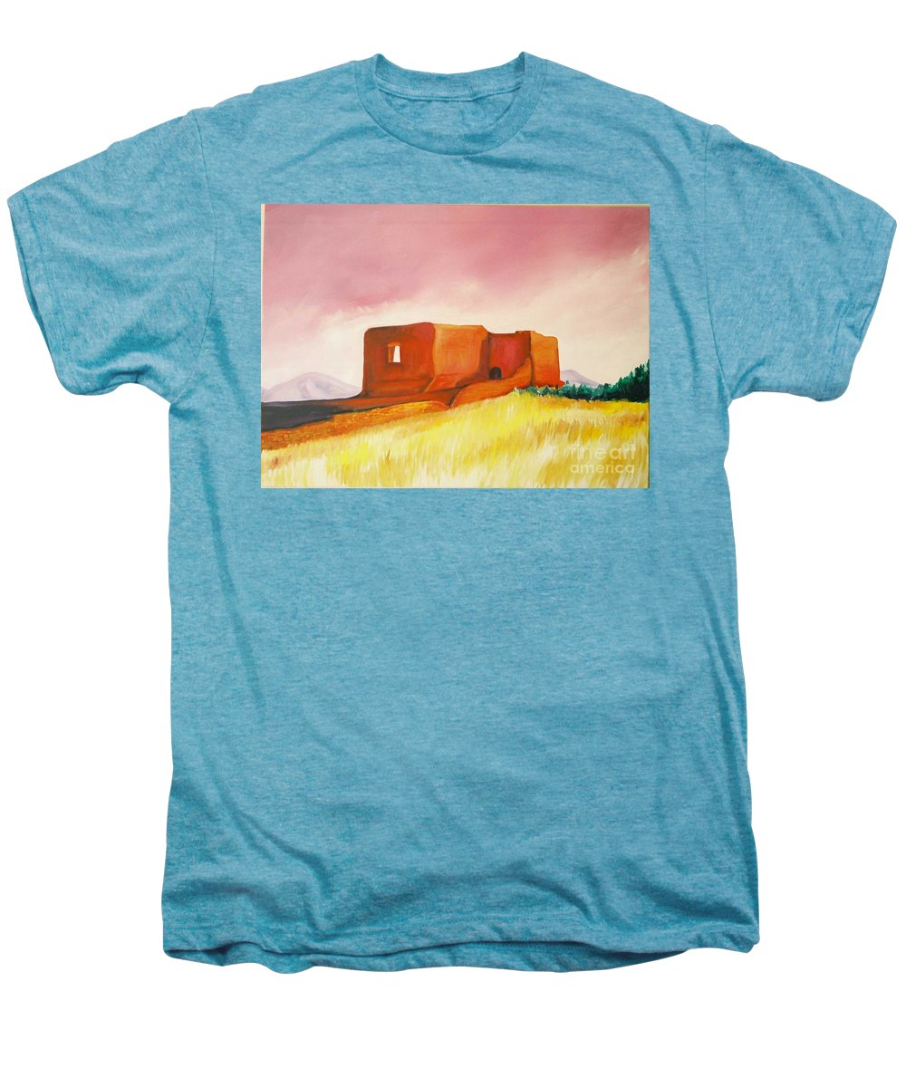 Western Landscapes Men's Premium T-Shirt featuring the painting Pecos Mission Nm by Eric Schiabor