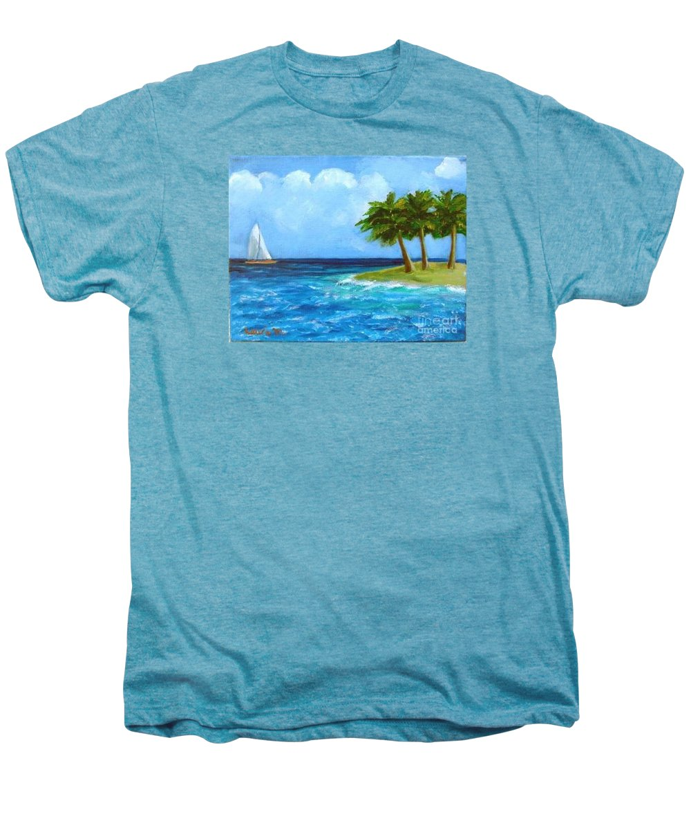 Boats Men's Premium T-Shirt featuring the painting Perfect Sailing Day by Laurie Morgan