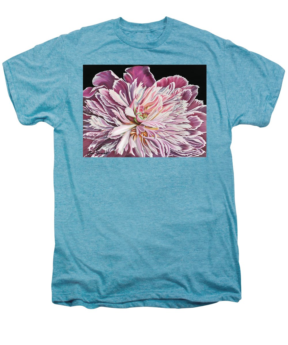 Flower Men's Premium T-Shirt featuring the painting Pink Peony by Jane Girardot