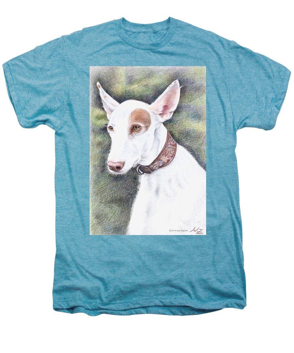 Dog Men's Premium T-Shirt featuring the drawing Podenco Ibicenco by Nicole Zeug
