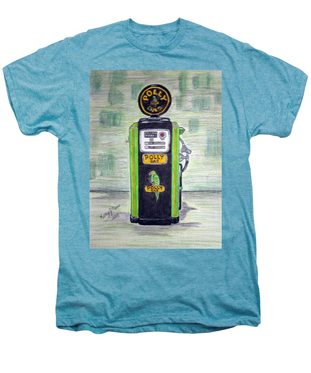 Parrot Men's Premium T-Shirt featuring the painting Polly Gas Pump by Kathy Marrs Chandler