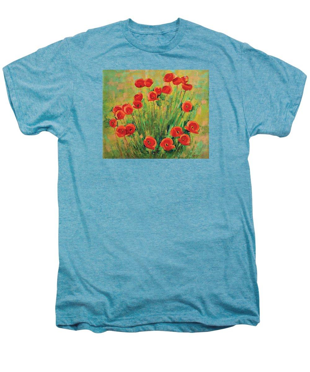 Poppies Men's Premium T-Shirt featuring the painting Poppies by Iliyan Bozhanov