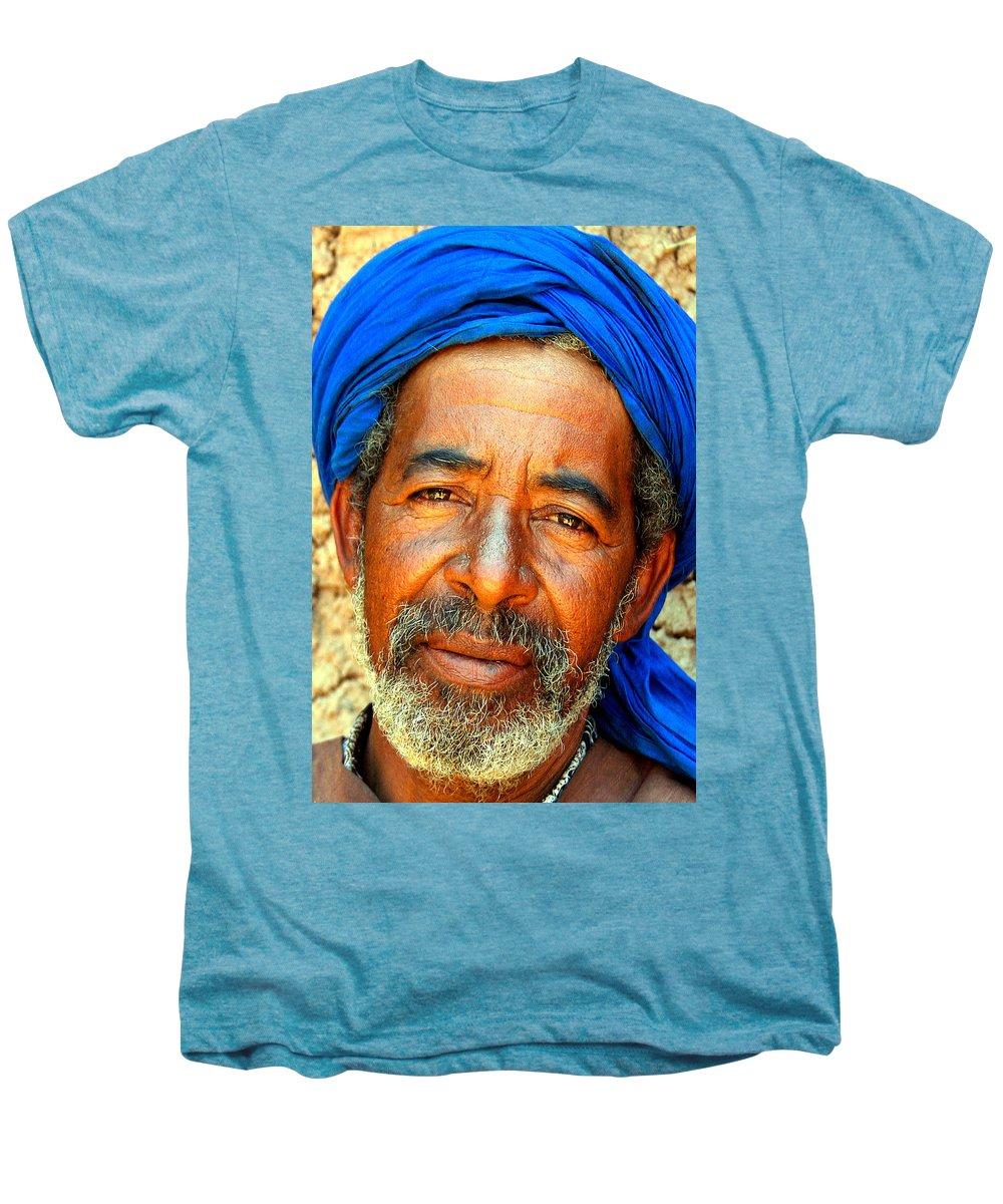 Berber Man Men's Premium T-Shirt featuring the photograph Portrait Of A Berber Man by Ralph A Ledergerber-Photography